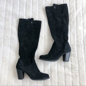 UGG Black Suede Leather Tall Boots Size 8